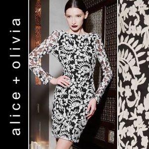 Alice + Olivia NWT black dress white floral 0 XS